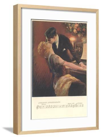 Romance at the Piano--Framed Art Print