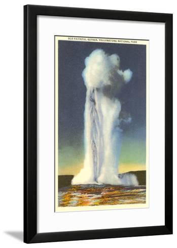 Old Faithful, Yellowstone Park, Montana--Framed Art Print