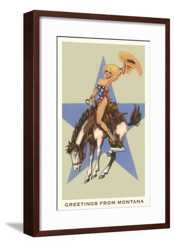 Greetings from Montana, Lady Rider--Framed Art Print