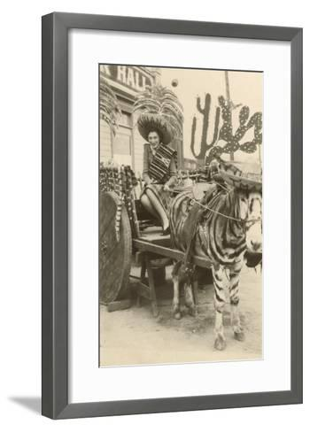 Woman in Zebra Cart, Tijuana, Mexico--Framed Art Print