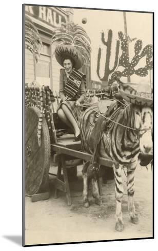 Woman in Zebra Cart, Tijuana, Mexico--Mounted Art Print