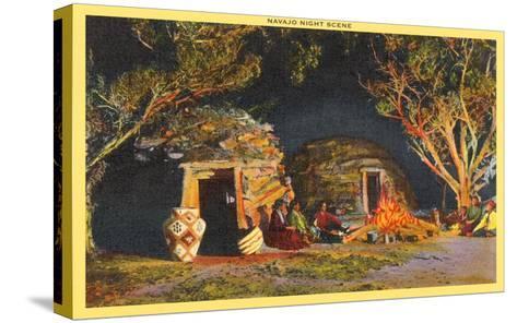 Navajo Night Scene--Stretched Canvas Print