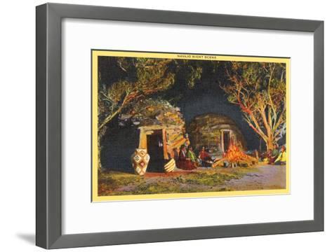 Navajo Night Scene--Framed Art Print