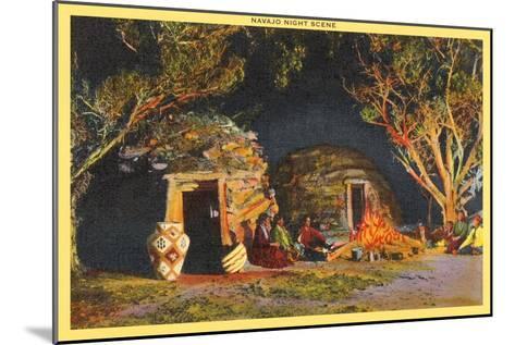 Navajo Night Scene--Mounted Art Print