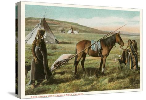 Cree Indian with Travois--Stretched Canvas Print