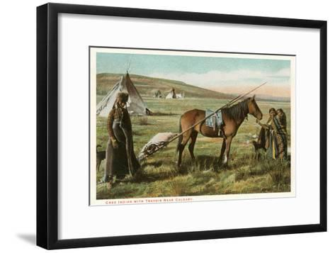 Cree Indian with Travois--Framed Art Print