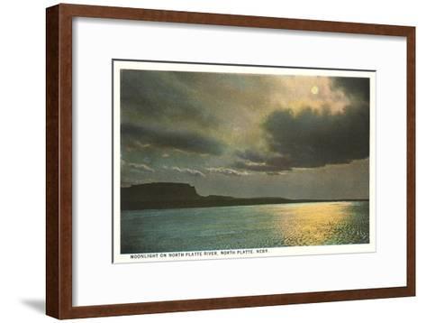 Moon over North Platte River, Nebraska--Framed Art Print