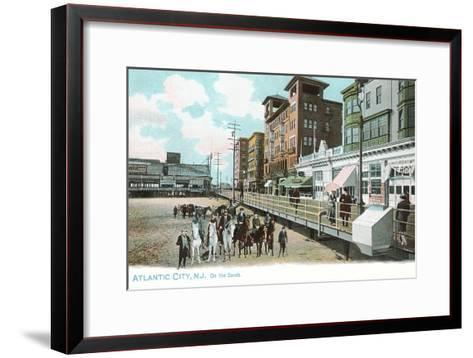 Horses on Beach, Atlantic City, New Jersey--Framed Art Print