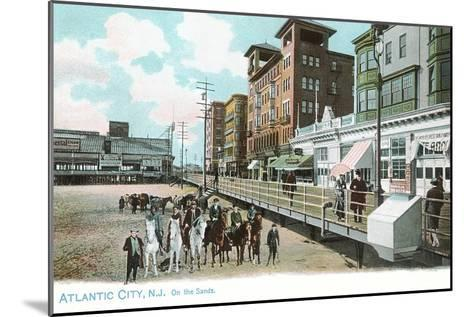 Horses on Beach, Atlantic City, New Jersey--Mounted Art Print