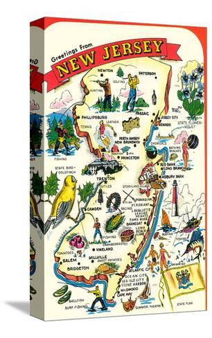 Map of New Jersey with Attractions--Stretched Canvas Print