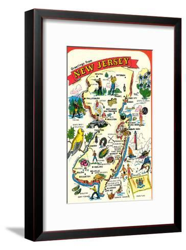 Map of New Jersey with Attractions--Framed Art Print