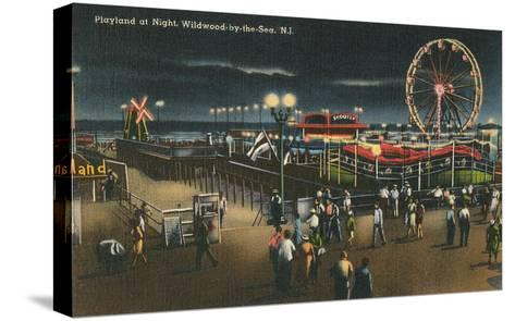 Playland at Night, Wildwood-by-the-Sea, New Jersey--Stretched Canvas Print