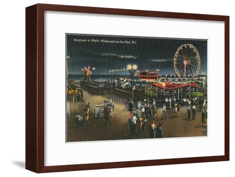 Playland at Night, Wildwood-by-the-Sea, New Jersey--Framed Art Print