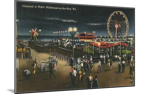 Playland at Night, Wildwood-by-the-Sea, New Jersey--Mounted Art Print