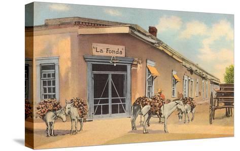 Burros with Firewood, La Fonda, Santa Fe, New Mexico--Stretched Canvas Print
