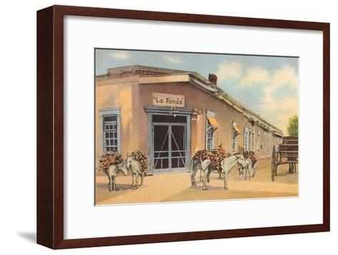 Burros with Firewood, La Fonda, Santa Fe, New Mexico--Framed Art Print