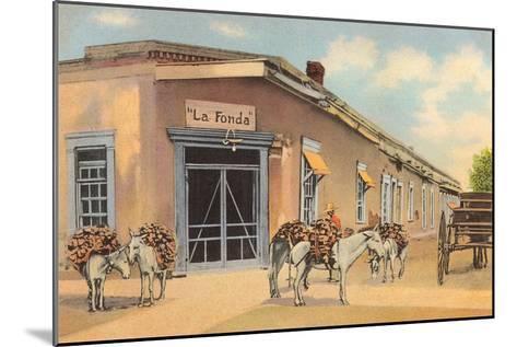 Burros with Firewood, La Fonda, Santa Fe, New Mexico--Mounted Art Print