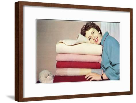 Women with Towels and Persian Cat, Retro--Framed Art Print