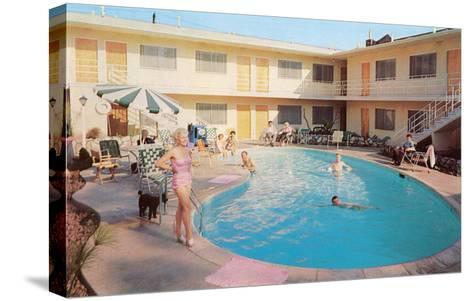 Apartment Complex Pool, Retro--Stretched Canvas Print