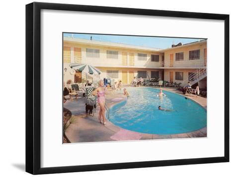 Apartment Complex Pool, Retro--Framed Art Print