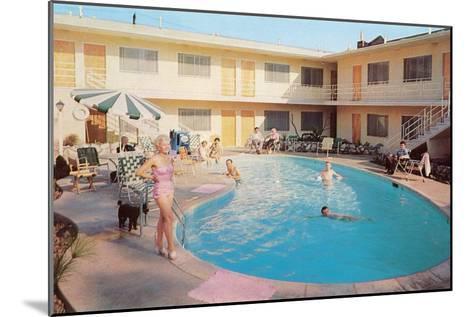 Apartment Complex Pool, Retro--Mounted Art Print
