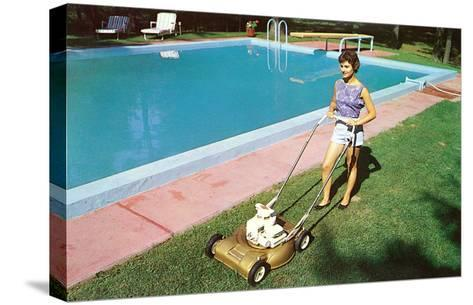 Woman Mowing Lawn by Pool, Retro--Stretched Canvas Print