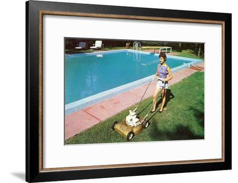 Woman Mowing Lawn by Pool, Retro--Framed Art Print