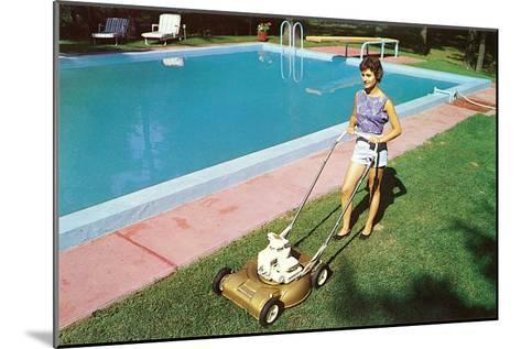 Woman Mowing Lawn by Pool, Retro--Mounted Art Print