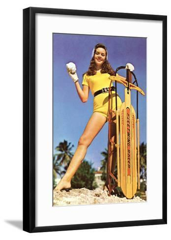 Girl with Sled, Retro--Framed Art Print