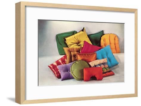 Assortment of Pillows, Retro--Framed Art Print