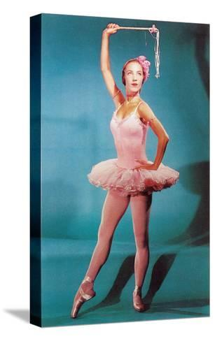 Ballerina in Pink, Retro--Stretched Canvas Print