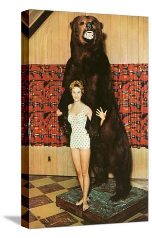 Lady with Bear, Retro--Stretched Canvas Print