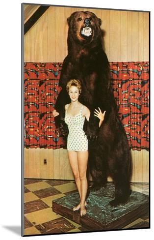 Lady with Bear, Retro--Mounted Art Print