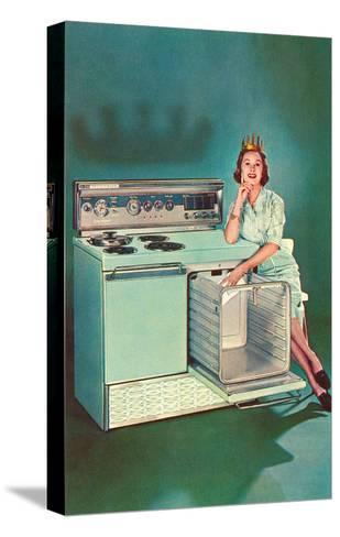 Lady with Tiara and Electric Stove, Retro--Stretched Canvas Print