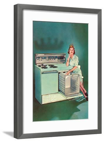 Lady with Tiara and Electric Stove, Retro--Framed Art Print