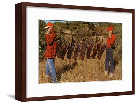 Hunters Carrying Giant Grasshoppers--Framed Art Print