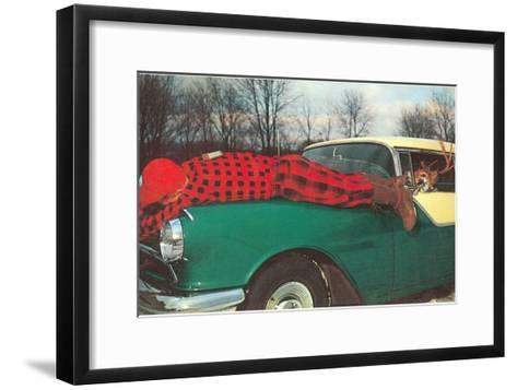 Hunter Strapped to Fender, Deer Driving--Framed Art Print