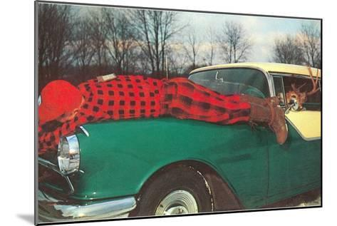 Hunter Strapped to Fender, Deer Driving--Mounted Art Print