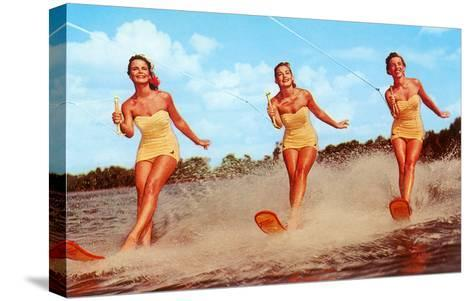 Three Bathing Beauties Waterskiing--Stretched Canvas Print