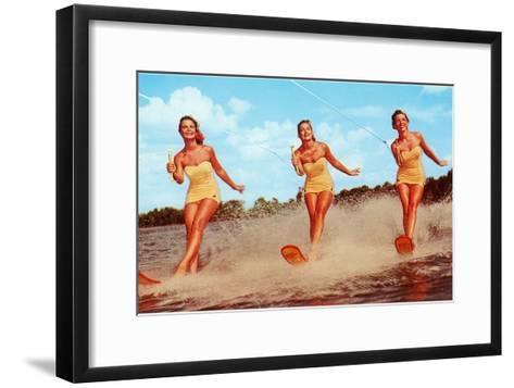 Three Bathing Beauties Waterskiing--Framed Art Print