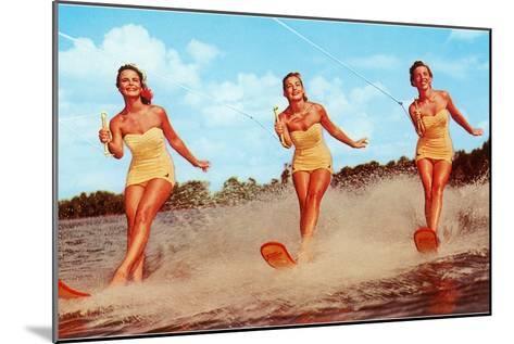 Three Bathing Beauties Waterskiing--Mounted Art Print