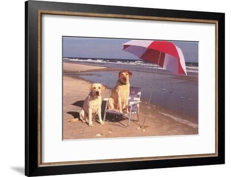 White Labradors at the Beach--Framed Art Print