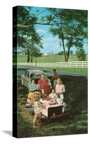 Roadside Family Picnic--Stretched Canvas Print