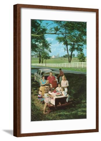 Roadside Family Picnic--Framed Art Print