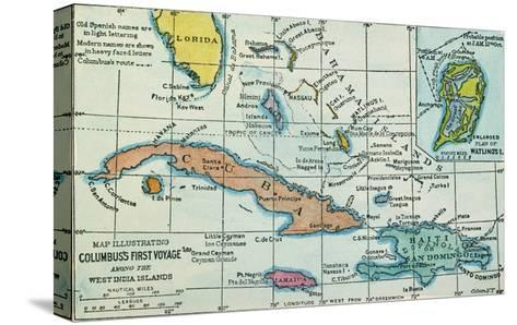 Columbus: West Indies Map--Stretched Canvas Print