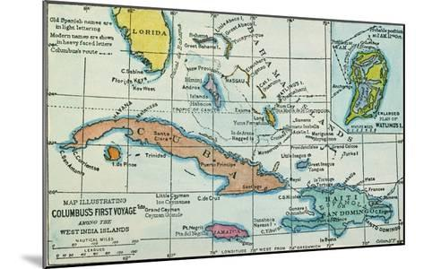 Columbus: West Indies Map--Mounted Giclee Print