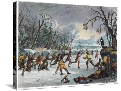 Native Americans: Ball Play, 1855--Stretched Canvas Print