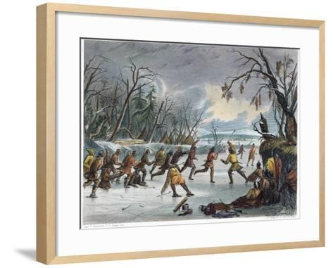 Native Americans: Ball Play, 1855--Framed Art Print