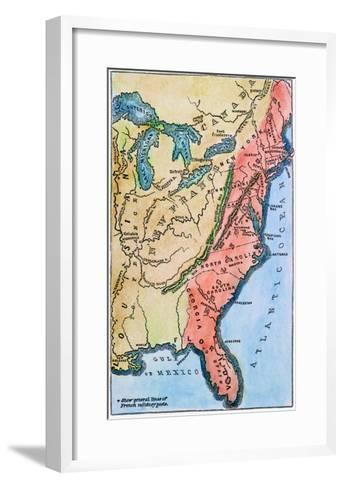 Colonial America Map--Framed Art Print