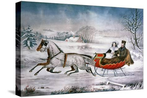 The Road-Winter, 1853-Currier & Ives-Stretched Canvas Print